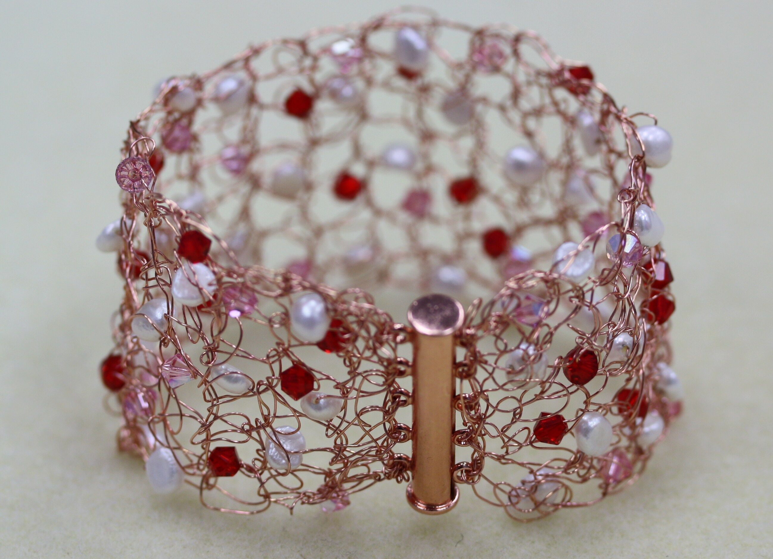 Wire Crocheted Bicone Beaded Ring Set of 2